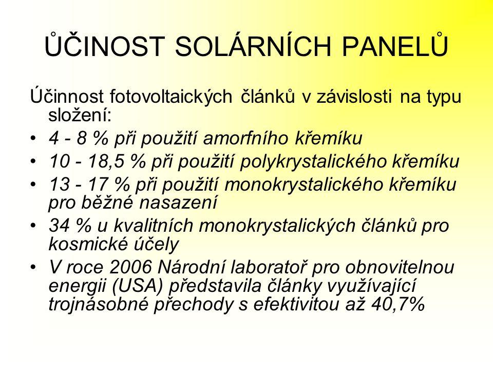 ŮČINOST SOLÁRNÍCH PANELŮ Účinnost fotovoltaických článků v závislosti na typu složení: •4 - 8 % při použití amorfního křemíku •10 - 18,5 % při použití
