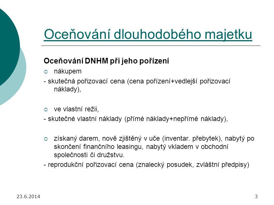 23.6.20144 Vedlejší náklady, které se stávají součástí ocenění DNHM: - náklady na přípravu a zabezpečení pořizovaného majetku, např.
