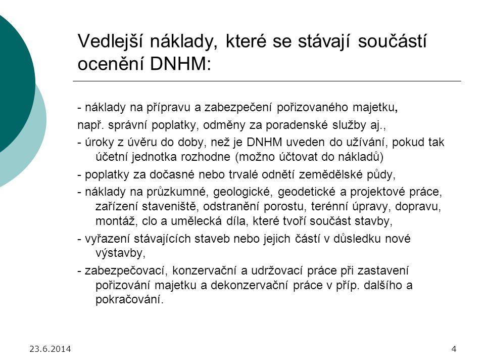 23.6.20145 Náklady, které se nestávají součástí ocenění DNHM: - náklady na opravy a údržbu, - kurzové rozdíly, - úroky placené po uvedení DNHM do užívání, - smluvní pokuty a úroky z prodlení, - výdaje na přípravu pracovníků pro budované provozy a zařízení, - výdaje na vybavení zásobami pro budované provozy, - daně spojené s pořízením dlouhodobého majetku, které zákon o daních z příjmů neuznává, tj.
