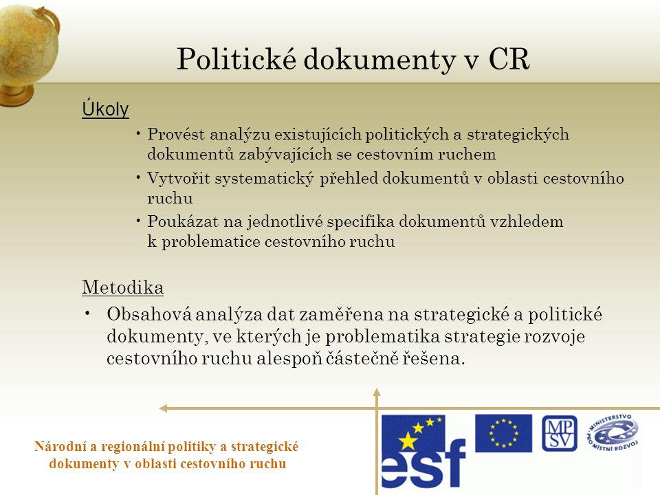 Politické dokumenty v CR Úkoly •Provést analýzu existujících politických a strategických dokumentů zabývajících se cestovním ruchem •Vytvořit systemat