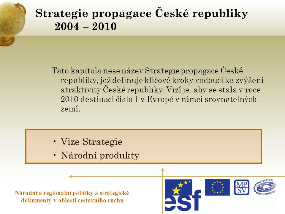 Strategie propagace České republiky 2004 – 2010 Národní a regionální politiky a strategické dokumenty v oblasti cestovního ruchu Tato kapitola nese ná