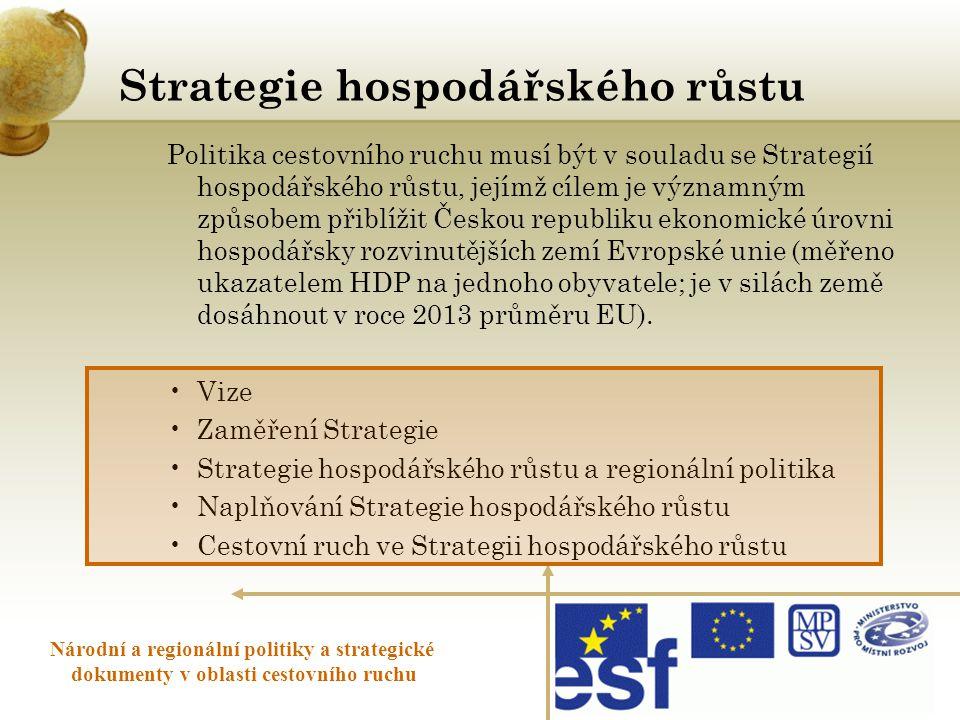 Strategie hospodářského růstu Národní a regionální politiky a strategické dokumenty v oblasti cestovního ruchu Politika cestovního ruchu musí být v so