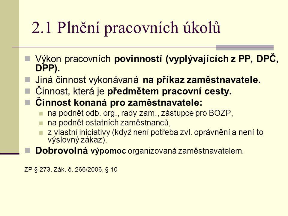 2.1 Plnění pracovních úkolů  Výkon pracovních povinností (vyplývajících z PP, DPČ, DPP).  Jiná činnost vykonávaná na příkaz zaměstnavatele.  Činnos