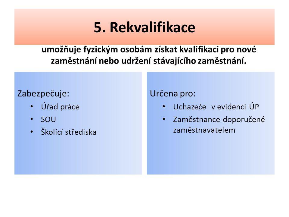 5. Rekvalifikace umožňuje fyzickým osobám získat kvalifikaci pro nové zaměstnání nebo udržení stávajícího zaměstnání. Zabezpečuje: • Úřad práce • SOU