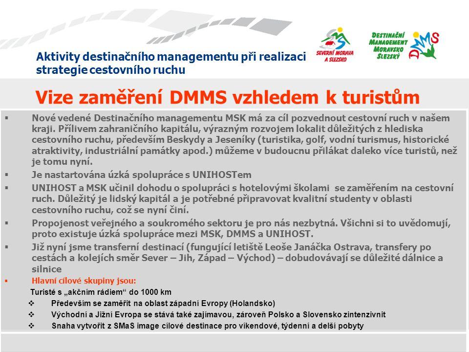 Aktivity destinačního managementu při realizaci strategie cestovního ruchu Vize zaměření DMMS vzhledem k turistům  Nové vedené Destinačního managemen
