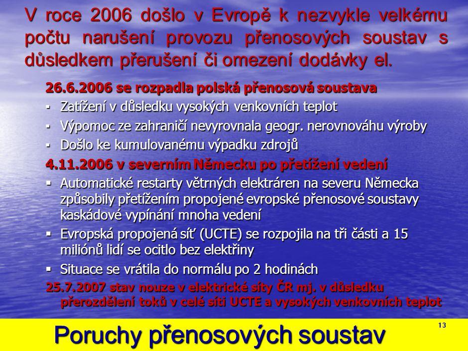 Poruchy přenosových soustav Poruchy přenosových soustav 13 V roce 2006 došlo v Evropě k nezvykle velkému počtu narušení provozu přenosových soustav s