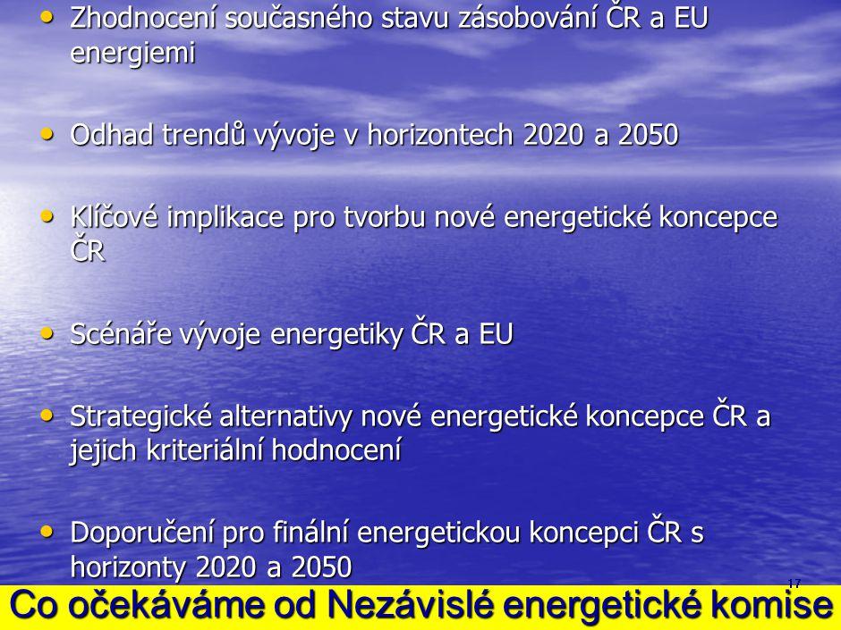 Co očekáváme od Nezávislé energetické komise • Zhodnocení současného stavu zásobování ČR a EU energiemi • Odhad trendů vývoje v horizontech 2020 a 205