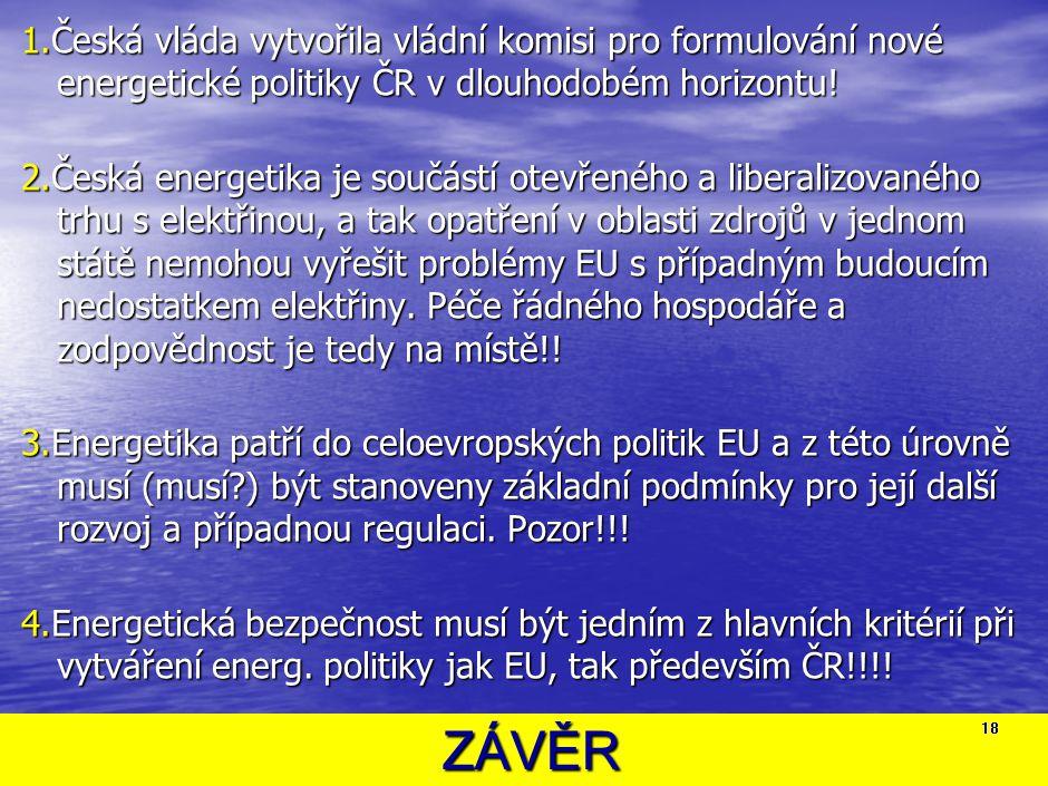 ZÁVĚR ZÁVĚR 1.Česká vláda vytvořila vládní komisi pro formulování nové energetické politiky ČR v dlouhodobém horizontu! 2.Česká energetika je součástí