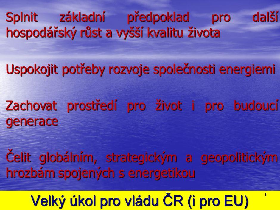 Velký úkol pro vládu ČR (i pro EU) Velký úkol pro vládu ČR (i pro EU) Splnit základní předpoklad pro další hospodářský růst a vyšší kvalitu života Usp