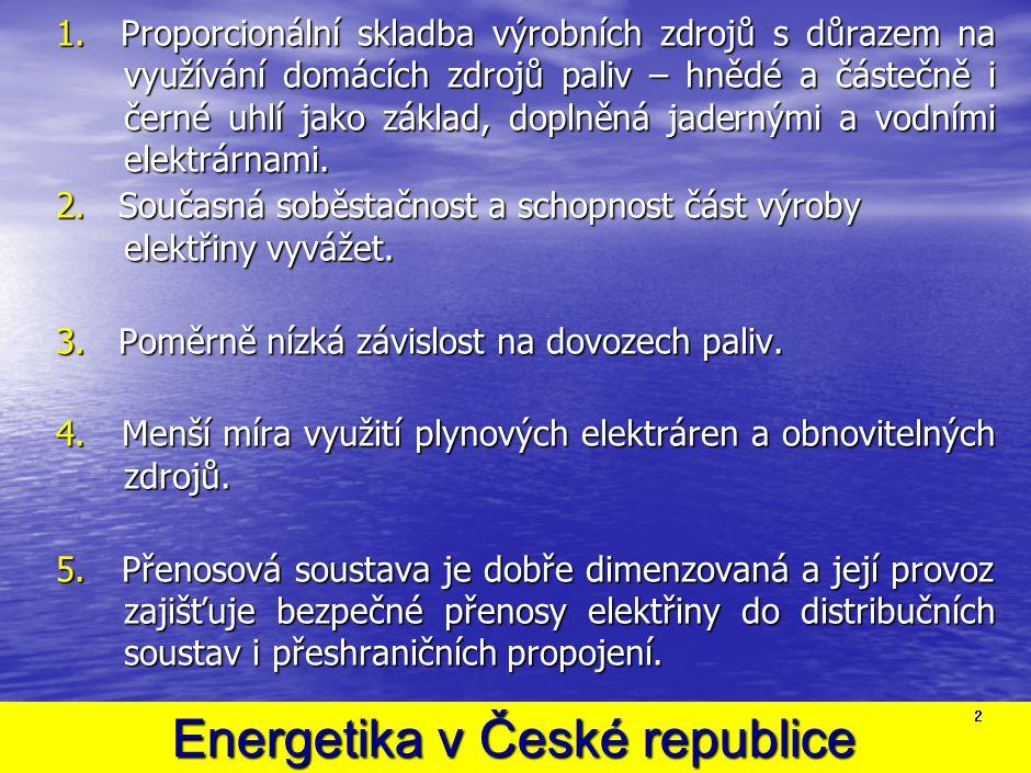 Energetika v České republice Energetika v České republice 1. Proporcionální skladba výrobních zdrojů s důrazem na využívání domácích zdrojů paliv – hn