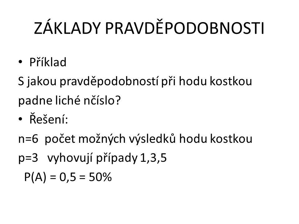 ZÁKLADY PRAVDĚPODOBNOSTI • VLASTNOSTI PRAVDĚPODOBNOSTI a)Pro nemožný jev platí: p = 0 →P( )=0 (např.