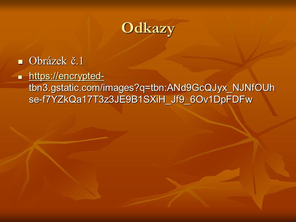 Odkazy  Obrázek č.1  https://encrypted- tbn3.gstatic.com/images q=tbn:ANd9GcQJyx_NJNfOUh se-f7YZkQa17T3z3JE9B1SXiH_Jf9_6Ov1DpFDFw https://encrypted-
