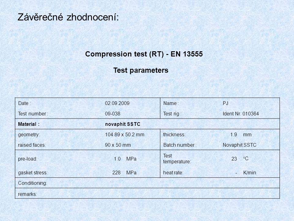 Závěrečné zhodnocení: Compression test (RT) - EN 13555 Test parameters Date :02.09.2009Name :PJ Test number :09-038Test rig :Ident Nr. 010364 Material