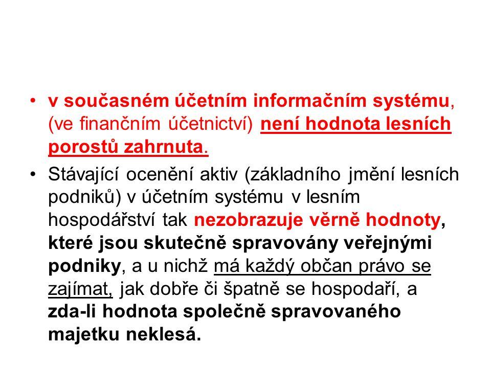 •v současném účetním informačním systému, (ve finančním účetnictví) není hodnota lesních porostů zahrnuta.