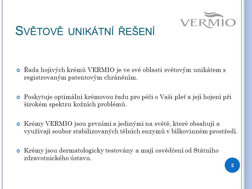 S VĚTOVĚ UNIKÁTNÍ ŘEŠENÍ Řada hojivých krémů VERMIO je ve své oblasti světovým unikátem s registrovaným patentovým chráněním.