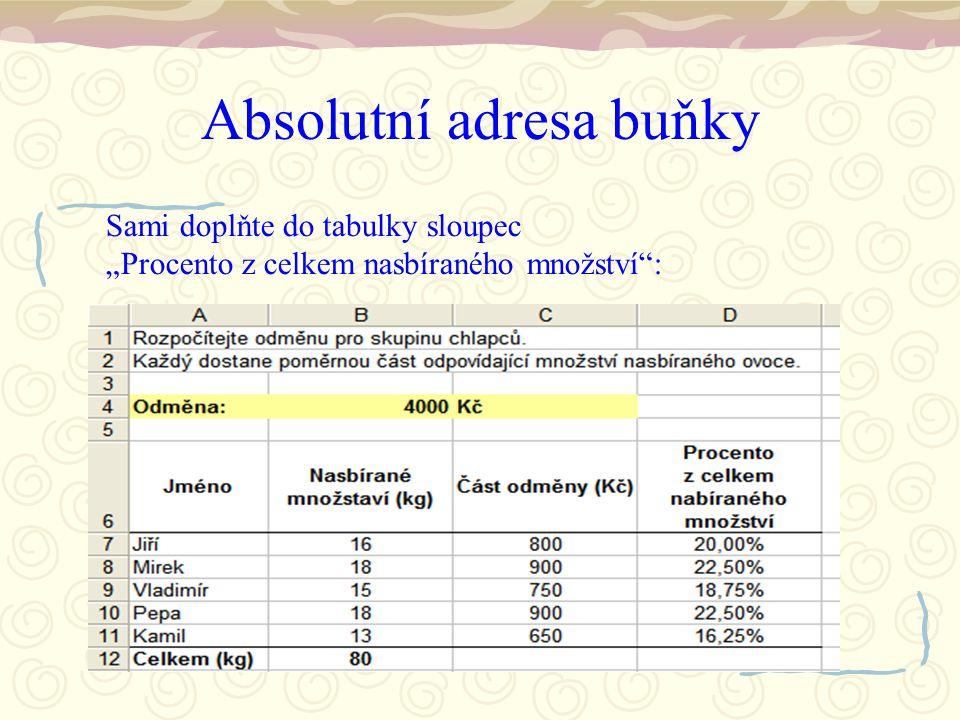 """Absolutní adresa buňky Sami doplňte do tabulky sloupec """"Procento z celkem nasbíraného množství"""":"""
