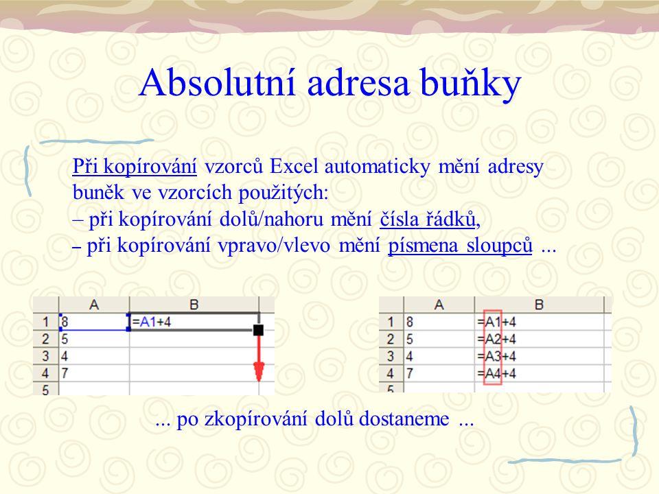 Absolutní adresa buňky Při kopírování vzorců Excel automaticky mění adresy buněk ve vzorcích použitých: – při kopírování dolů/nahoru mění čísla řádků,