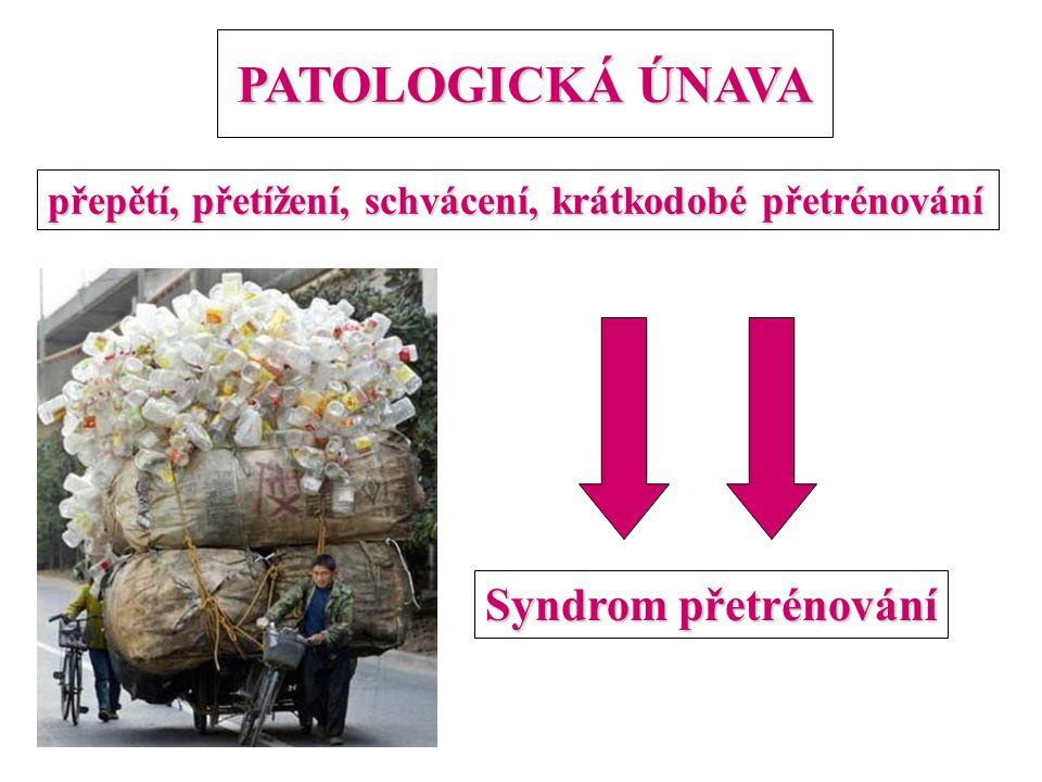 PATOLOGICKÁ ÚNAVA přepětí, přetížení, schvácení, krátkodobé přetrénování Syndrom přetrénování
