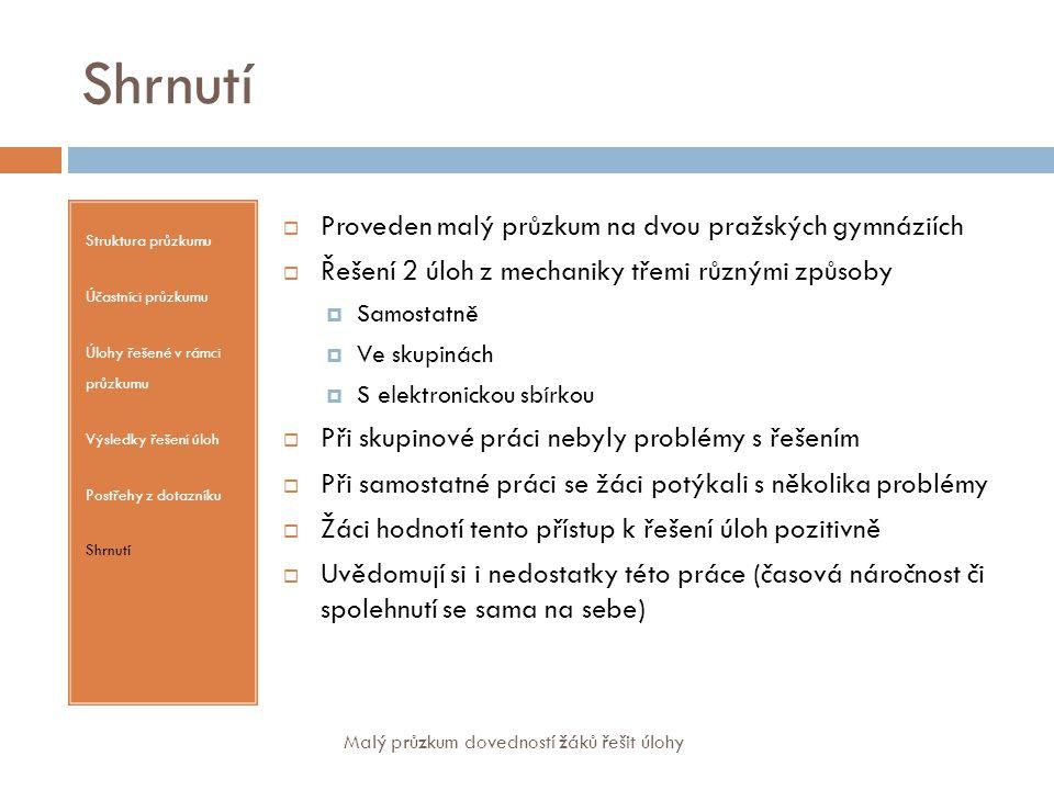 Shrnutí Struktura průzkumu Účastníci průzkumu Úlohy řešené v rámci průzkumu Výsledky řešení úloh Postřehy z dotazníku Shrnutí  Proveden malý průzkum