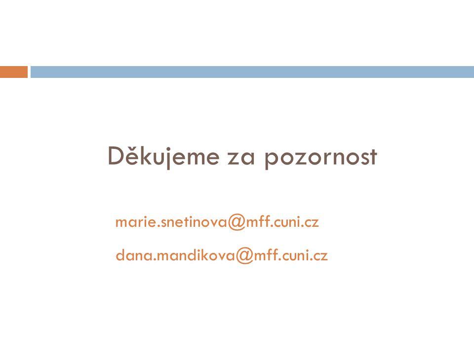 Děkujeme za pozornost marie.snetinova@mff.cuni.cz dana.mandikova@mff.cuni.cz