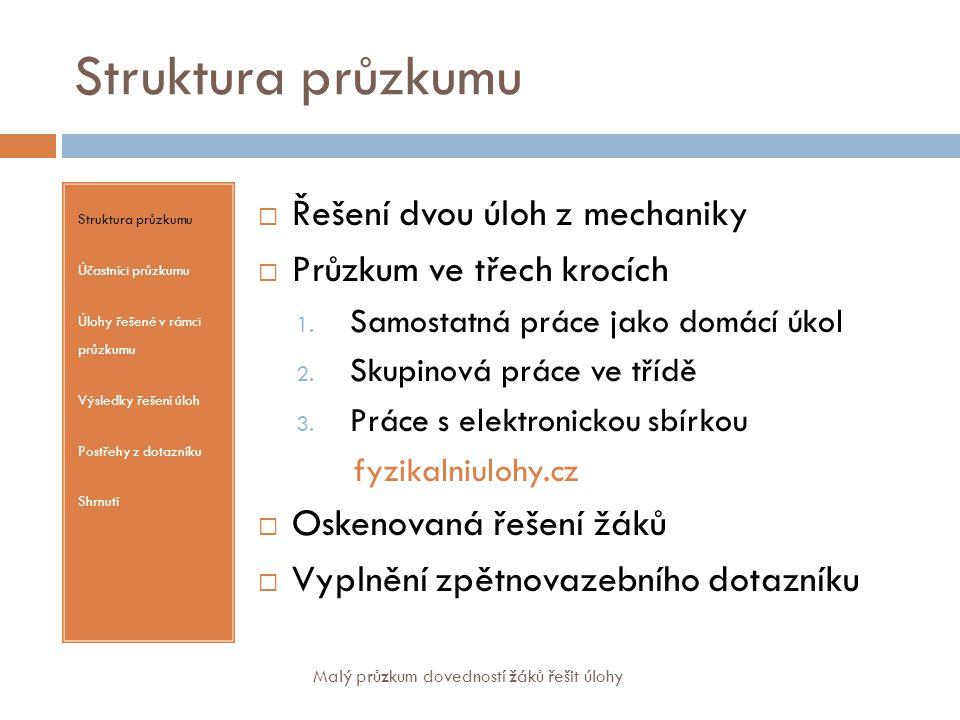 """Struktura průzkumu – dotazník Struktura průzkumu Účastníci průzkumu Úlohy řešené v rámci průzkumu Výsledky řešení úloh Postřehy z dotazníku Shrnutí  Hlavním přínosem při samostatném řešení úlohy pro mě bylo:  Hlavním přínosem při skupinové práci pro mě bylo:  Hlavním přínosem při práci s elektronickou sbírkou pro mě bylo:  Oproti """"běžné výuce řešení fyzikálních úloh byl tento způsob učení  a) lepší v:  b) horší v:  Další poznámky: Malý průzkum dovedností žáků řešit úlohy"""