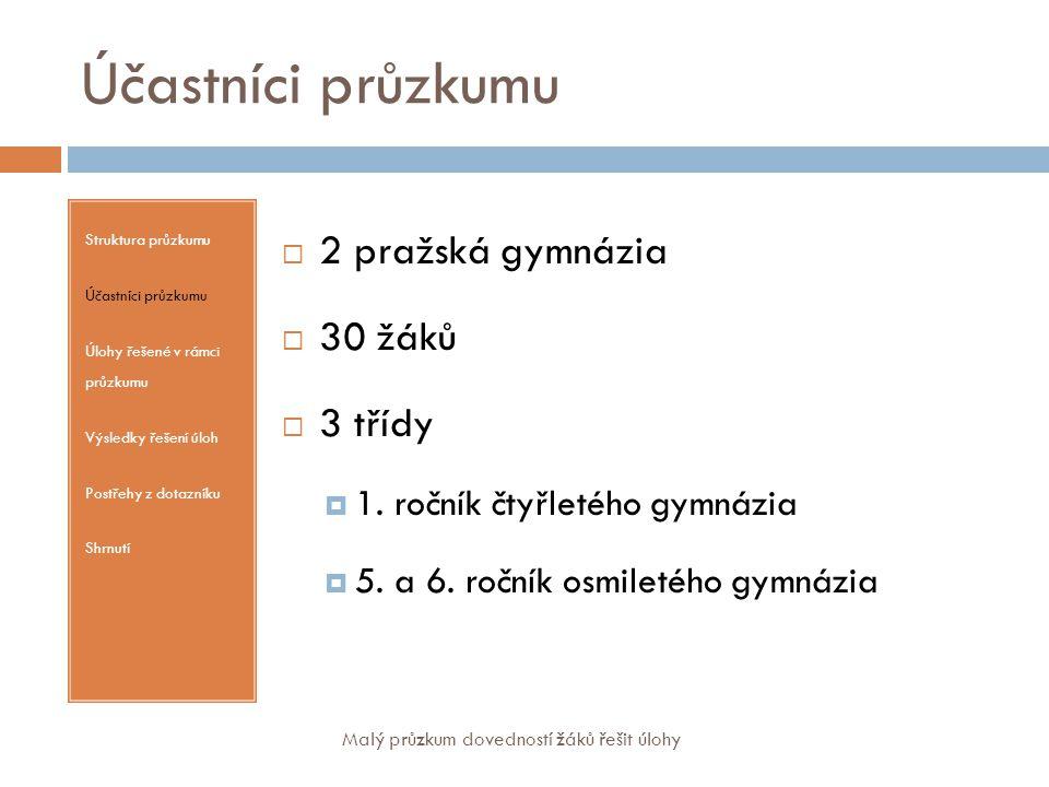 Úlohy řešené v rámci průzkumu Struktura průzkumu Účastníci průzkumu Úlohy řešené v rámci průzkumu Výsledky řešení úloh Postřehy z dotazníku Shrnutí 1.