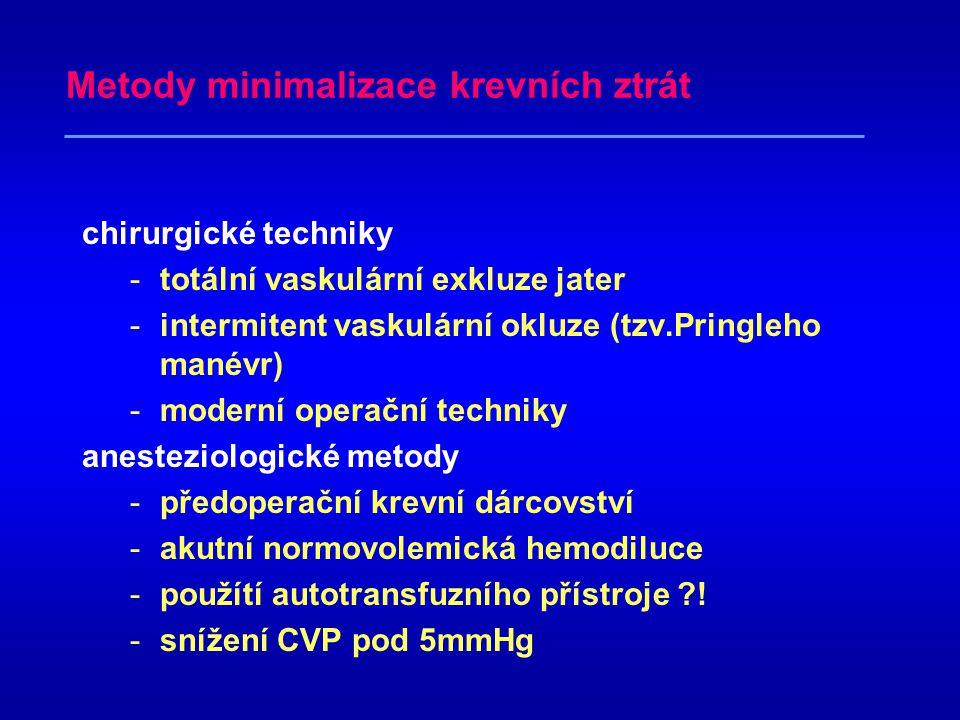 Metody minimalizace krevních ztrát chirurgické techniky -totální vaskulární exkluze jater -intermitent vaskulární okluze (tzv.Pringleho manévr) -moderní operační techniky anesteziologické metody -předoperační krevní dárcovství -akutní normovolemická hemodiluce -použítí autotransfuzního přístroje ?.