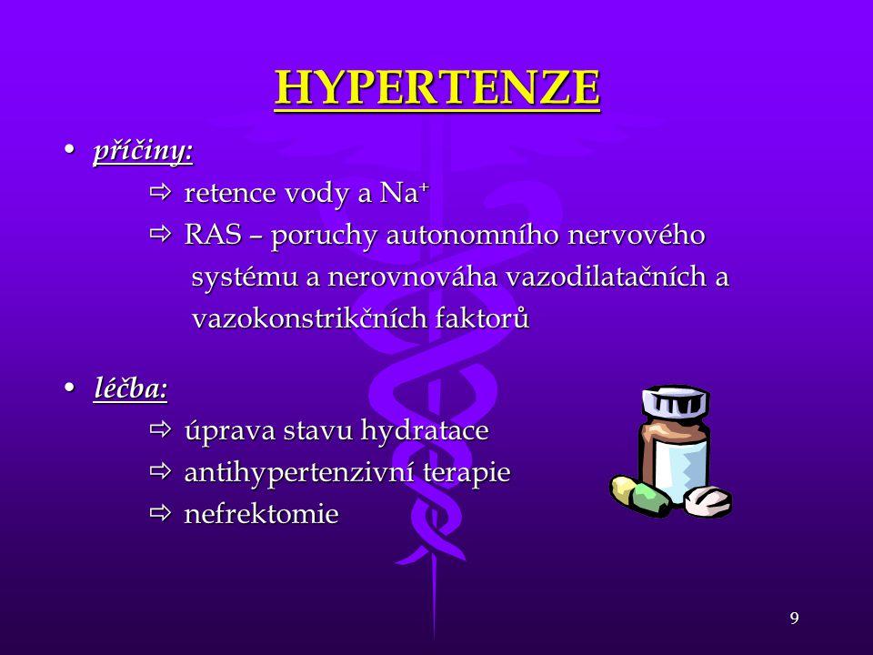 9 HYPERTENZE • příčiny:  retence vody a Na +  RAS – poruchy autonomního nervového systému a nerovnováha vazodilatačních a systému a nerovnováha vazo