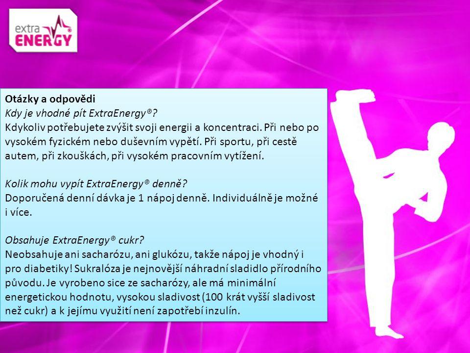 Otázky a odpovědi Kdy je vhodné pít ExtraEnergy®? Kdykoliv potřebujete zvýšit svoji energii a koncentraci. Při nebo po vysokém fyzickém nebo duševním