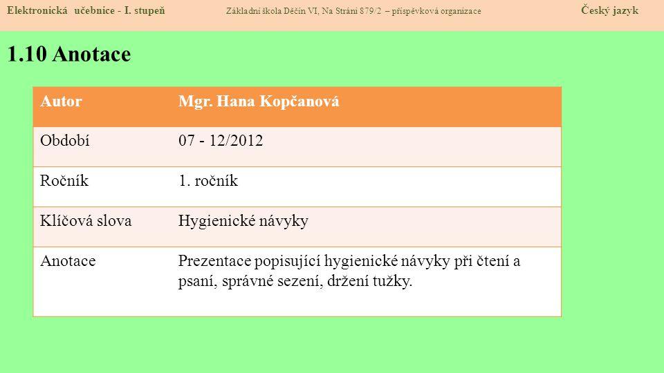 1.10 Anotace Elektronická učebnice - I.