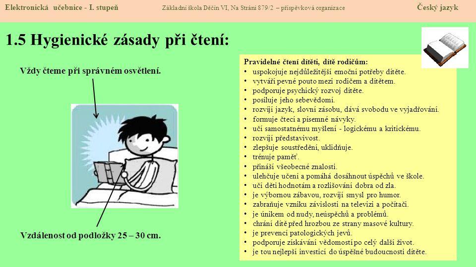 1.5 Hygienické zásady při čtení: Elektronická učebnice - I.