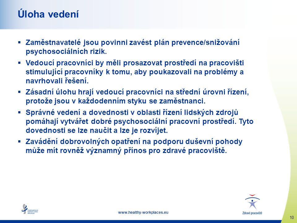 www.healthy-workplaces.eu 10 Úloha vedení  Zaměstnavatelé jsou povinni zavést plán prevence/snižování psychosociálních rizik.  Vedoucí pracovníci by