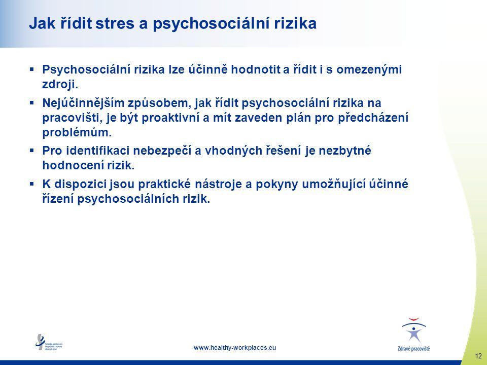 www.healthy-workplaces.eu 12 Jak řídit stres a psychosociální rizika  Psychosociální rizika lze účinně hodnotit a řídit i s omezenými zdroji.  Nejúč