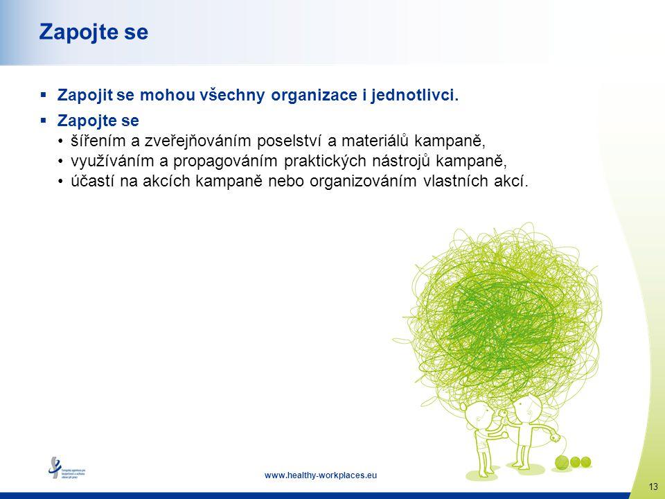 www.healthy-workplaces.eu 13 Zapojte se  Zapojit se mohou všechny organizace i jednotlivci.  Zapojte se •šířením a zveřejňováním poselství a materiá