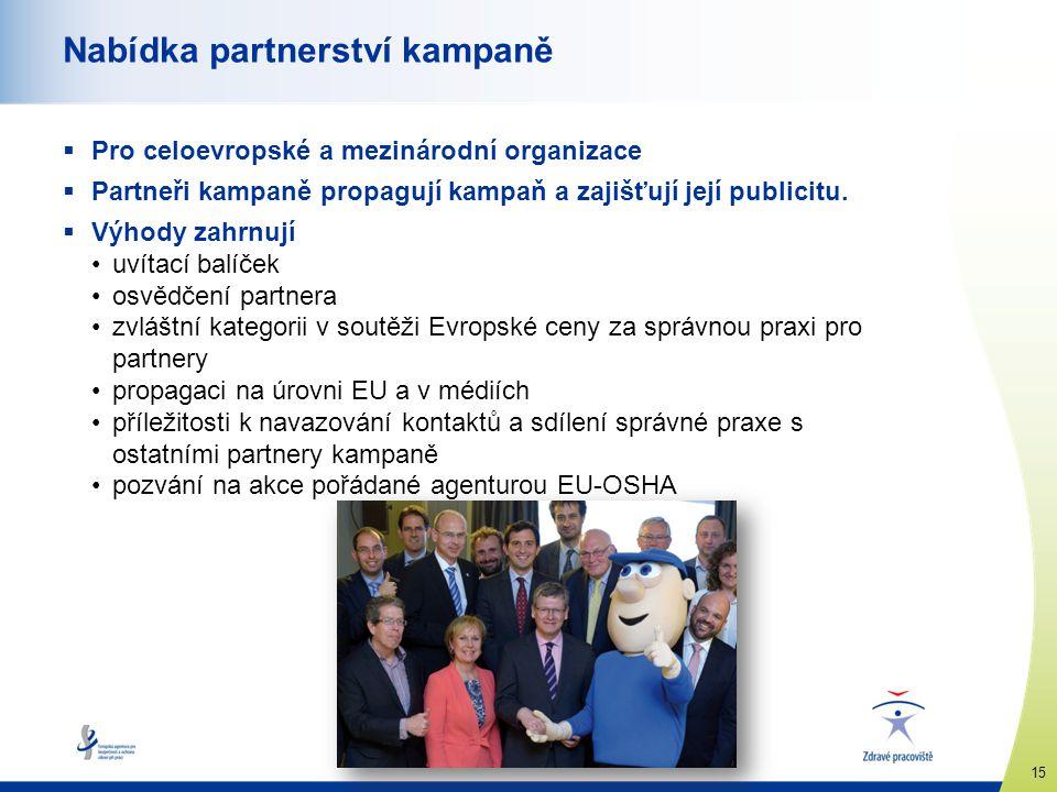 www.healthy-workplaces.eu 15 Nabídka partnerství kampaně  Pro celoevropské a mezinárodní organizace  Partneři kampaně propagují kampaň a zajišťují j