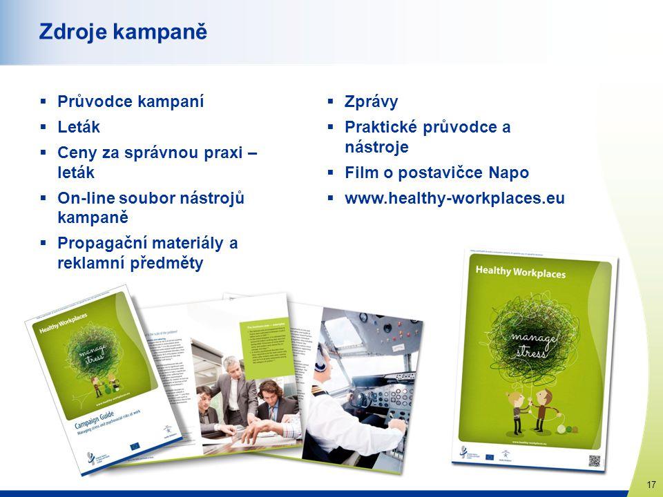 www.healthy-workplaces.eu 17 Zdroje kampaně  Průvodce kampaní  Leták  Ceny za správnou praxi – leták  On-line soubor nástrojů kampaně  Propagační