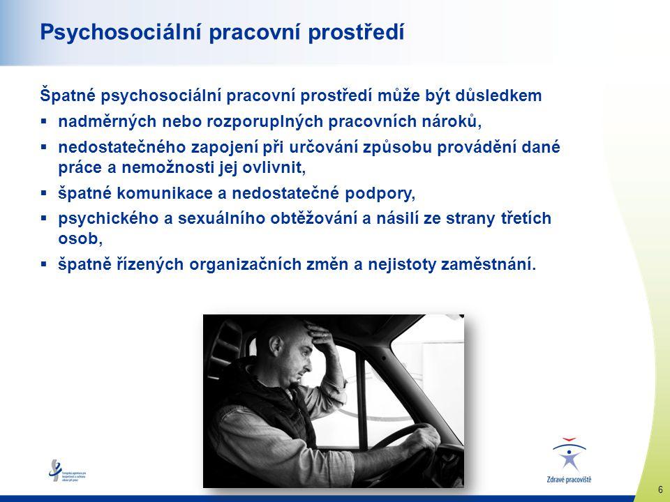 www.healthy-workplaces.eu 6 Psychosociální pracovní prostředí Špatné psychosociální pracovní prostředí může být důsledkem  nadměrných nebo rozporupln