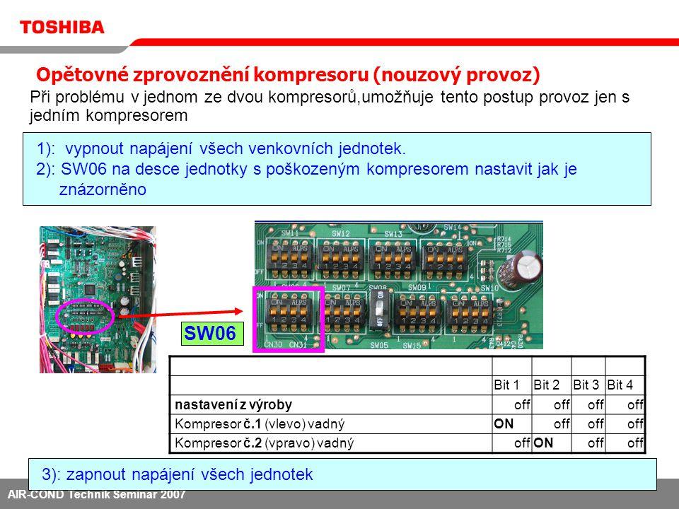 AIR-COND Technik Seminar 2007 1): vypnout napájení všech venkovních jednotek 2): Sání zcela uzavřít.