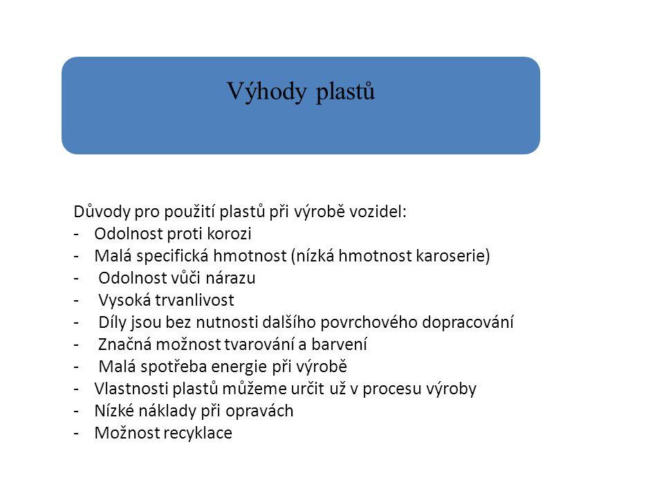 Výhody plastů Důvody pro použití plastů při výrobě vozidel: -Odolnost proti korozi -Malá specifická hmotnost (nízká hmotnost karoserie) - Odolnost vůči nárazu - Vysoká trvanlivost - Díly jsou bez nutnosti dalšího povrchového dopracování - Značná možnost tvarování a barvení - Malá spotřeba energie při výrobě -Vlastnosti plastů můžeme určit už v procesu výroby -Nízké náklady při opravách -Možnost recyklace