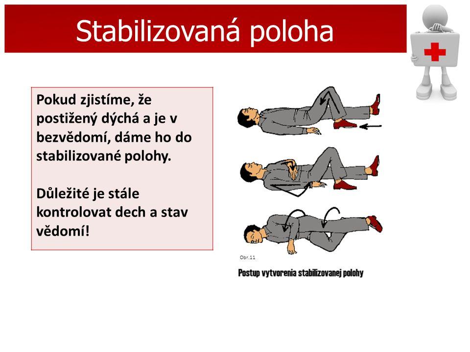 Stabilizovaná poloha Pokud zjistíme, že postižený dýchá a je v bezvědomí, dáme ho do stabilizované polohy. Důležité je stále kontrolovat dech a stav v