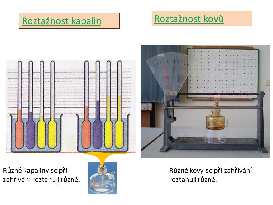 Roztažnost kapalin Různé kapaliny se při zahřívání roztahují různě. Roztažnost kovů Různé kovy se při zahřívání roztahují různě.