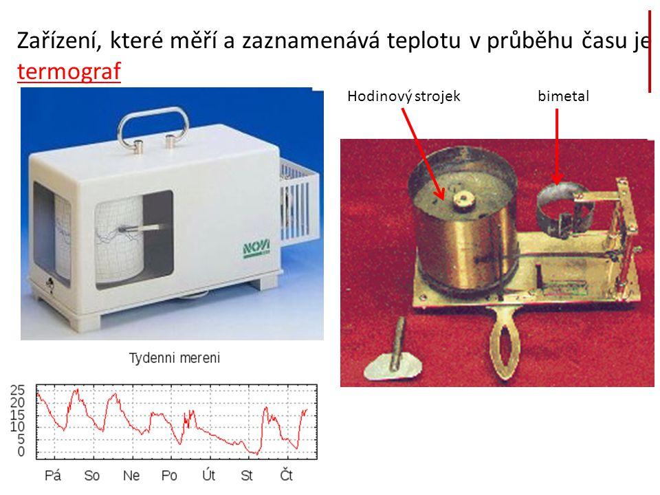 Zařízení, které měří a zaznamenává teplotu v průběhu času je termograf Hodinový strojekbimetal