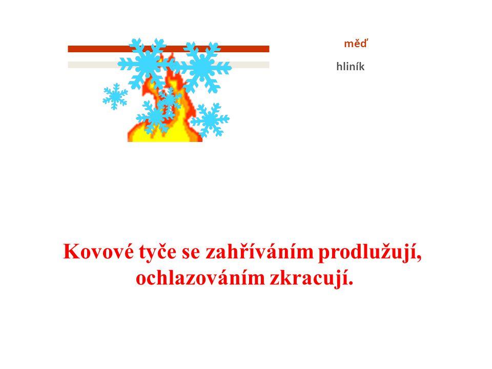 měď hliník Kovové tyče se zahříváním prodlužují, ochlazováním zkracují.