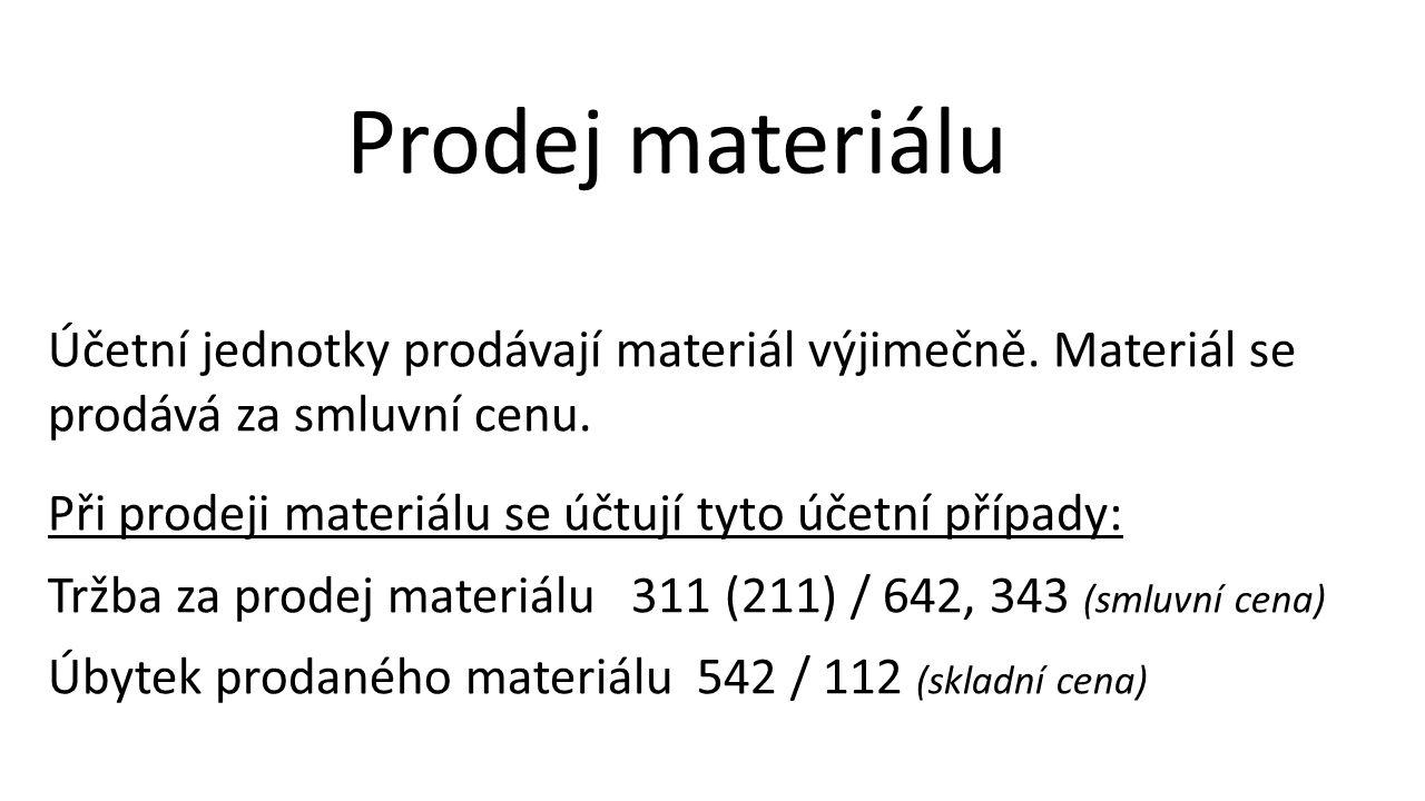 Prodej materiálu Účetní jednotky prodávají materiál výjimečně.