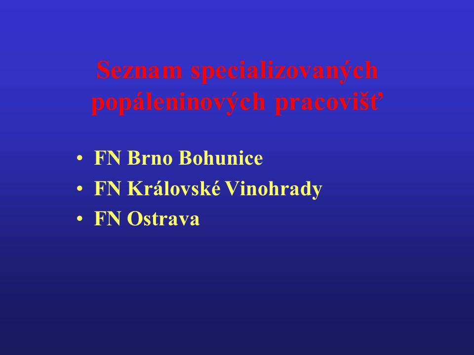 Seznam specializovaných popáleninových pracovišť •FN Brno Bohunice •FN Královské Vinohrady •FN Ostrava