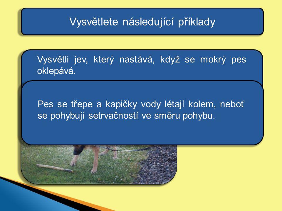 Vysvětlete následující příklady Pes se třepe a kapičky vody létají kolem, neboť se pohybují setrvačností ve směru pohybu.