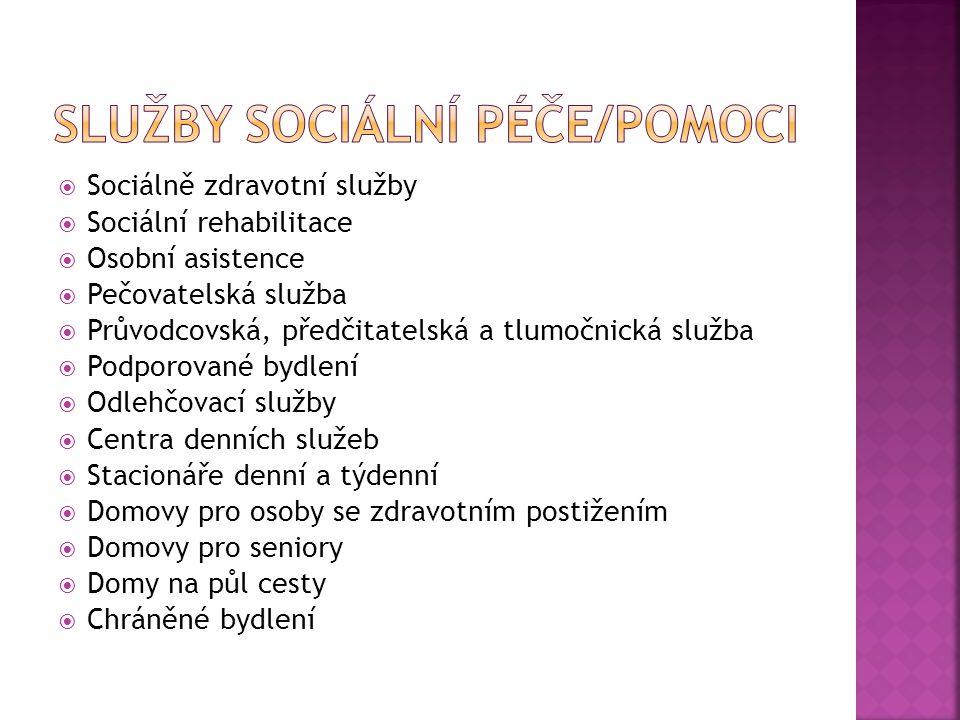  Sociálně zdravotní služby  Sociální rehabilitace  Osobní asistence  Pečovatelská služba  Průvodcovská, předčitatelská a tlumočnická služba  Pod
