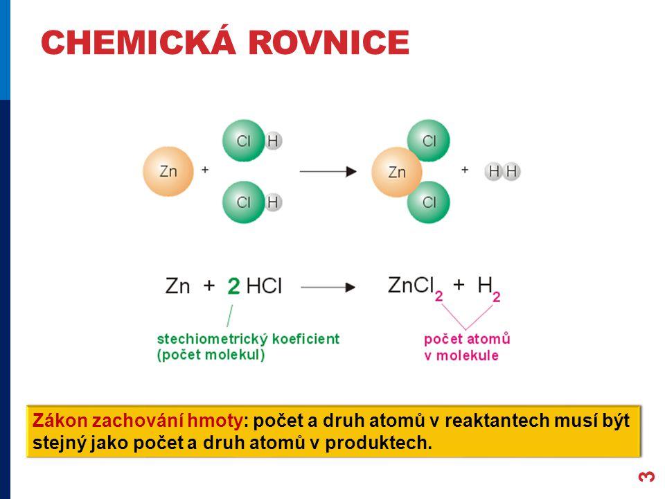 CHEMICKÁ ROVNICE 3 Zákon zachování hmoty: počet a druh atomů v reaktantech musí být stejný jako počet a druh atomů v produktech.