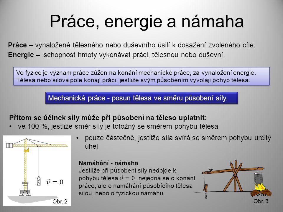 Práce, energie a námaha Přitom se účinek síly může při působení na těleso uplatnit: •ve 100 %, jestliže směr síly je totožný se směrem pohybu tělesa Práce – vynaložené tělesného nebo duševního úsilí k dosažení zvoleného cíle.