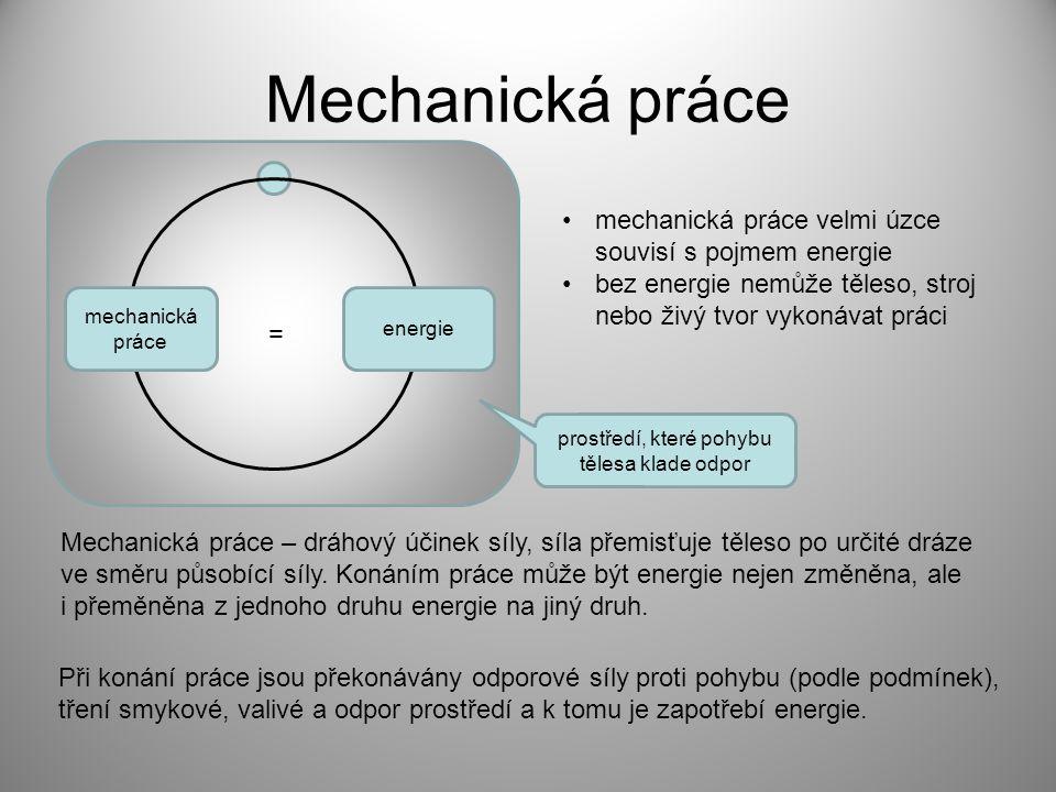 Výpočet mechanické práce Z předchozích informací vyplývá potřeba dvou fyzikálních veličin pro výpočet práce síla F [N] dráha s [m], po které se těleso při působení síly posunulo skalár Odvození jednotky mechanické práce newtonmetr (ňůtnmetr) Vztah mezi veličinou 1J a základními jednotkami SI Přesouvá-li síla těleso ve směru svislém h s